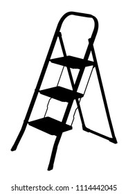 silhouette folding ladder on white background, vector illustration