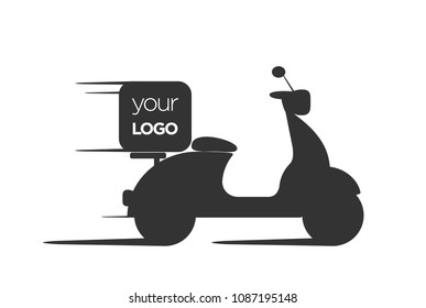 Silhouette of food delivery motorcycle, logo for home delivery, home service.