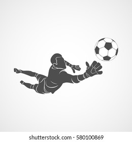 Silhouette football goalkeeper is jumping for the ball Soccer on a white background. Vector illustration.