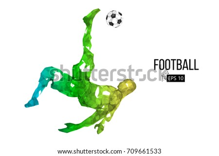 Silhouette Football Player Dots Lines Triangles Stock Vector