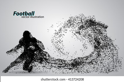 silhouette of a football player from particle. Background and text on a separate layer, color can be changed in one click