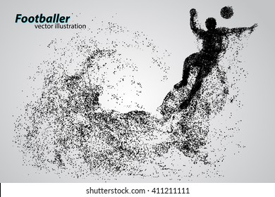 silhouette of a football player from particles. Background and text on a separate layer, color can be changed in one click
