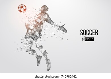 silhouette of a football player from particles. Vector illustration