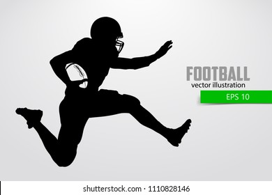 silhouette of a football player. Set. Background and text on a separate layer, color can be changed in one click. Rugby. American football. Vector illustration