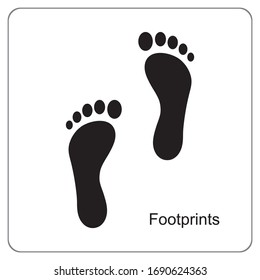 The silhouette of footprints. footsteps icon or sign for print.  Vector illustration.