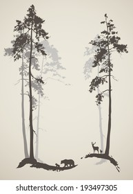 silhouette of the forest with animals