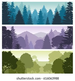 Silhouette forest panorama skyline with pine trees, vector nature wildlife landscape backgrounds. Wildlife forest silhouette, skyline panorama forest illustration