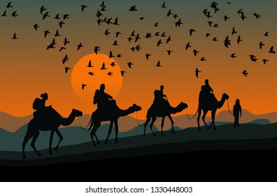 silhouette of four camel riders. Up hill with sunset  and  flock of bird background