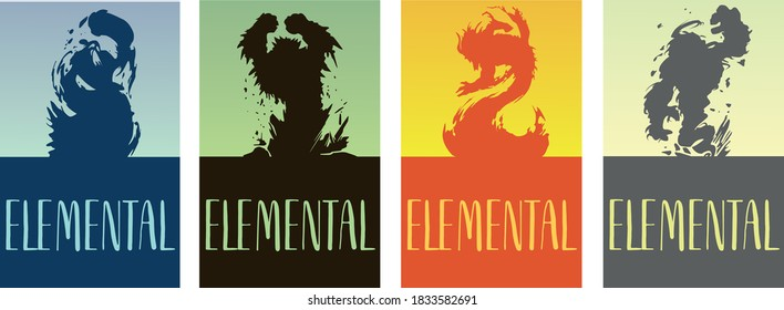 """Silhouette of the four elementals of the elements of fire, water, earth and air in the style of monsters of the game """"Dungeons and Dragons"""" on blue, green, orange and yellow background."""