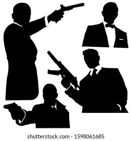 Silhouette of Four Secret Agent Detective