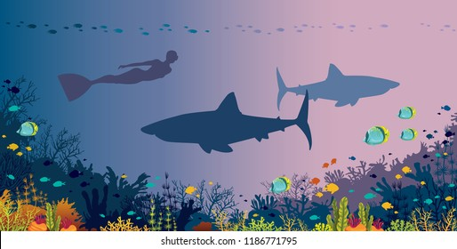 Silhouette freediver with monofin, big sharks, coral reef and tropical fishes in a sea background. Vector ocean illustration. Underwater nature and marine wildlife. Water sport - free diving.