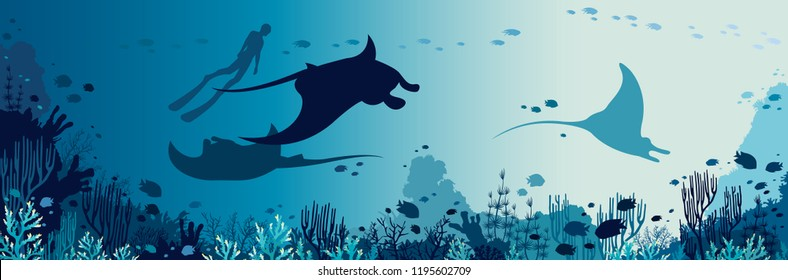 Silhouette of freediver and three mantas swimming near the coral reef and fishes. Underwater marine wildlife. Vector sea illustration.