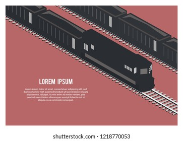 silhouette freight train carrying ore/coal, simple illustration, isometric view