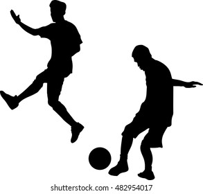 silhouette friends, Three young men were playing football