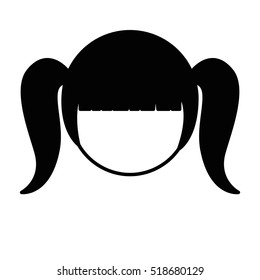 silhouette front face girl with pigtails