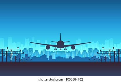 silhouette Front view of Passenger airplane landing with city skyline in blue color background