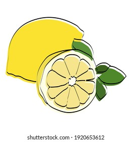 Silhouette of a fruit. Lemon. Vector illustration.