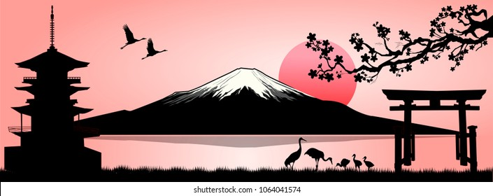 Silhouette Fuji mountain at sunset. Landscape, Mount Fuji. Mount Fuji on a pink background.