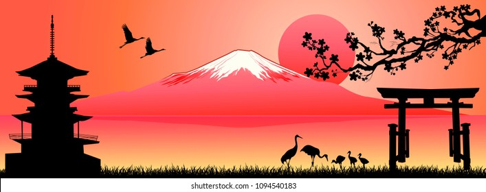Silhouette Fuji mountain at sunset. Landscape, Mount Fuji. Mount Fuji on a pink background.
