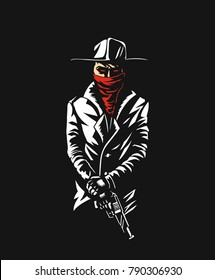 Silhouette of a gangster with a gun in hand - Vector Illustration.