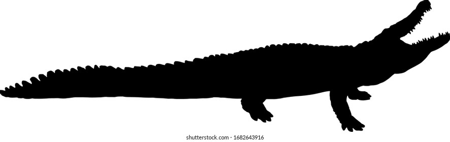 Silhouette of a gaping Nile crocodile, scientifically known as Crocodylus niloticus. Vector illustration.