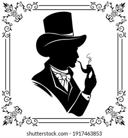 The silhouette of a gentleman in a top hat with a smoking pipe.