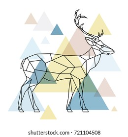 Silhouette of a geometric deer standing on the side. Scandinavian style. Vector illustration.