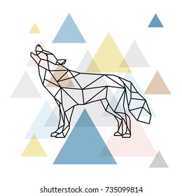 Silhouette of a geometric wolf. Side view. Scandinavian style. Vector illustration.