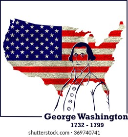Silhouette George Washington. American president, vector illustration