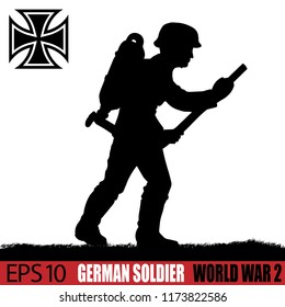 Silhouette of German Soldier of World War 2, vintage 1940's. Original digital illustration.