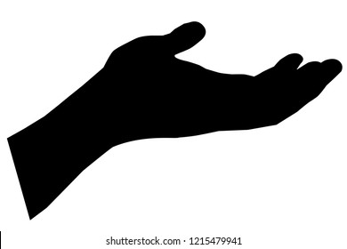 Silhouette Gesture Left Hand, Ready to Receive or Begging Something