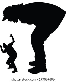 A silhouette of a giant man shouting and scaring a smaller man.