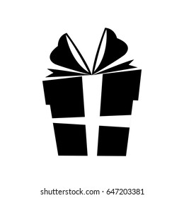 silhouette gift box christmas with bow