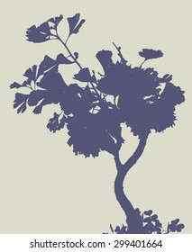 silhouette of ginkgo tree. vector illustration.
