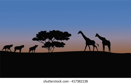 Silhouette of giraffe and puma in the park