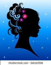 Silhouette Girl with abstract hairstyle