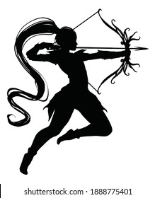 Silhouette girl archer elf in a dynamic graceful jump pulls an arrow ready to shoot, she has a patterned bow, leather armor, and a long tail on her head . 2d illustration