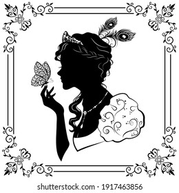 The silhouette of a girl in a ball gown, catches a butterfly