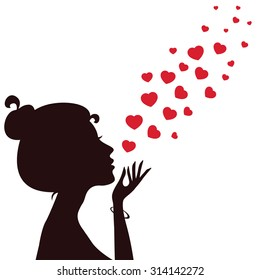 Silhouette of a girl blowing hearts away. Vector Valentine's Card