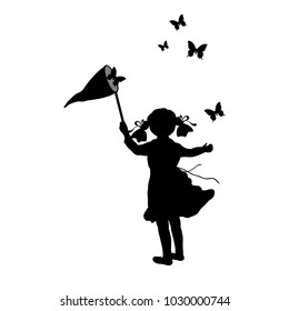 Silhouette girl with butterfly net. Vector illustration