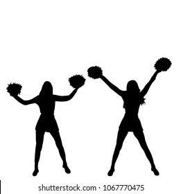 silhouette of girl, cheerleaders team on white background