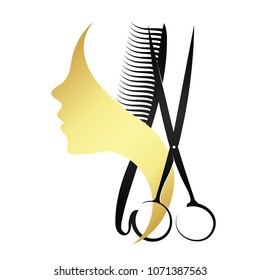 Silhouette of a girl with a comb and scissors for beauty salon