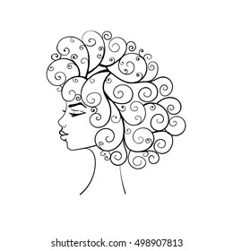 Silhouette of a girl with curly hair.