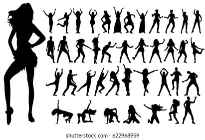 silhouette of a girl dancing, collection, set