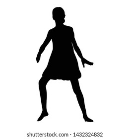 silhouette of a girl dancing dance, icon