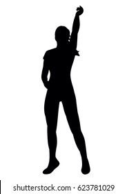 silhouette of a girl dancing at a disco,