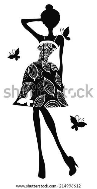 Silhouette Girl Dress Stock Vector (Royalty Free) 214996612