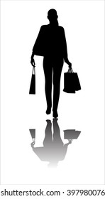 silhouette of a girl dress with shopping