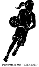 Silhouette of girl dribbling a basketball inside a basketball silhouette.