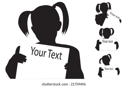 Silhouette of the girl with empty poster in hand